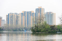 The lake next to Residential building Stock Photos