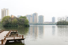 The lake next to Residential building Royalty Free Stock Image