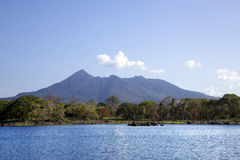 Lake Nicaragua on a background an active volcano Concepcion Royalty Free Stock Photo