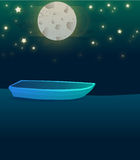 Lake night boat illustration Royalty Free Stock Photo