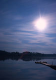 Lake night clouds moon landscape Royalty Free Stock Image