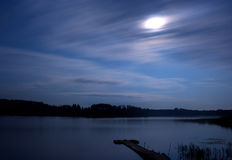 Lake night clouds moon Stock Photo