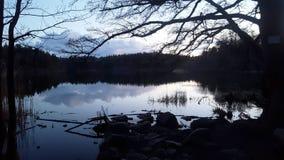 Lake at night. Dark lake at night in a beautiful landscape Stock Photos