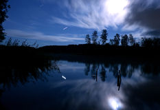 Lake night stars clouds moon
