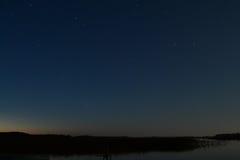 The lake at night stock photography