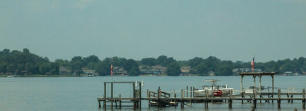 Lake Norman-dock. Lake Norman in North Carolina boat dock and ramp and houses on the back shore line Stock Photography