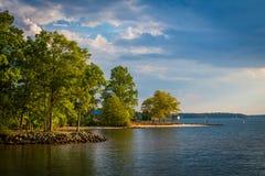 Lake Norman, at Ramsey Creek Park, in Cornelius, North Carolina. Royalty Free Stock Photography