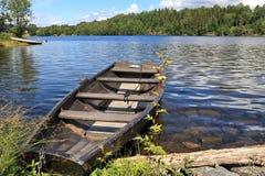 Lake Norsjo, Norway. Lake Norsjo old fishing boat, Norway landscape Stock Photo
