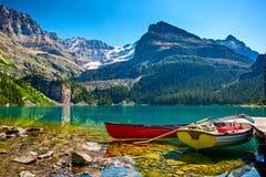 Lake O`Hara boats. Yoho National Park, British Columbia Stock Images