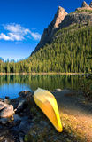 Lake O`Hara canoe Royalty Free Stock Images