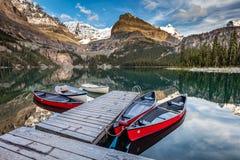 Lake O`Hara Canoes Royalty Free Stock Photo