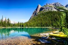 Lake O`Hara Canoes. Yoho National Park, British Columbia Stock Image