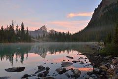Lake O'Hara and Cathedral Mountain at sunrise Royalty Free Stock Images