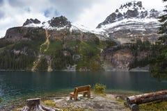 Lake O`Hara Rest Bench Yoho National Park Canadian Rocky Mountains royalty free stock photography