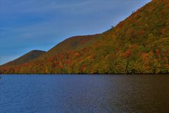 Lake O`Law in Autumn, a popular picnic and boating area on Cape Breton Island royalty free stock image