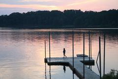 Lake o the Pines sunrise. In East Texas during the heat of the summer royalty free stock image