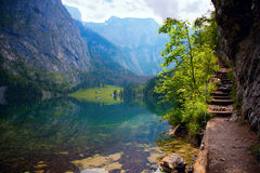 Lake Obersee in Alps, Germany. Alps mountains near lake Konigsee in Germany stock photography