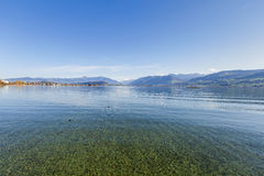 Lake Obersee. Switzerland, lake Obersee, view from Holzbruecke bridge in Rapperswil Stock Images