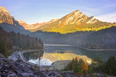 Lake Obersee autumn morning royalty free stock images