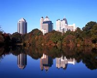 Lake and office buildings, Atlanta, USA. Royalty Free Stock Image
