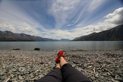 Lake Ohau. Chilling at the Lake Ohau Stock Photo