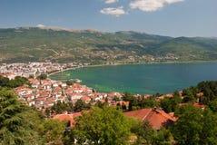 Lake Ohrid. And the city, Macedonia Stock Photography