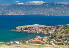 Lake Ohrid coast with red roofed Stock Image