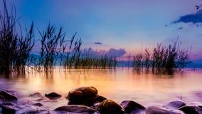 Lake Ohrid, Macedonia. Picture of a Sunset at Lake Ohrid, Macedonia,view from  Struga Royalty Free Stock Photos