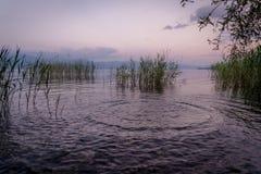 Lake Ohrid, Macedonia. Picture of a Sunset at Lake Ohrid, Macedonia,view from  Struga Stock Photo
