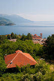 Lake Ohrid. And the monastery of Plaosnik in Ohrid, Macedonia Stock Photos