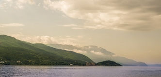 Lake Ohrid and Mountains Royalty Free Stock Photography
