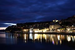 Lake Ohrid at night Stock Images