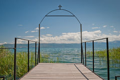 Lake Ohrid. A wooden pier in the village of Radozda in Macedonia Royalty Free Stock Photo