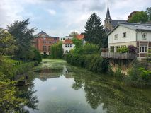 Essen Kettwig, Germany. Lake and old factory in Kettwig, a district of the German city of Essen Stock Image