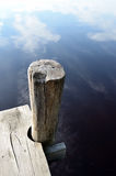 Lake and the old wooden jetty Royalty Free Stock Image