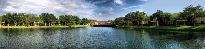 Lake in Oldsmar, Florida. Panorama of lake in Oldsmar, Florida Royalty Free Stock Photography