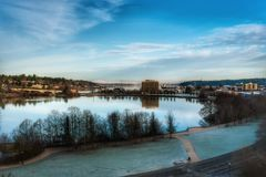 A lake in Olympia Washington on a clear fall day. Royalty Free Stock Photo