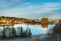 A lake in Olympia Washington on a clear fall day. Stock Photos