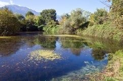 Lake at Olympus mountain in Greece Stock Image