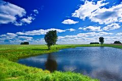 Lake On A Field Royalty Free Stock Photography
