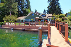 Lake one story house with dock. Beautiful lake waterfront property with dock and large deck Stock Photography