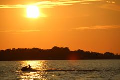 Sunset & Jetski stock image