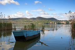 Lake Orestiada, boat. A lake in the Kastoria Prefecture of Macedonia, northwestern Greece Royalty Free Stock Photography