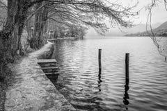 Lake Orta early springtime view. Black and white photo Stock Photo