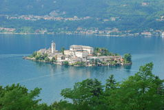 Lake Orta, Italy. San Giulio island. Isola di San Giulio seen From Orta San Giulio. Lake Orta (Lago d'Orta), Italy royalty free stock photo