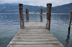 Lake Orta, Italy. Wooden pier Stock Image