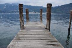 Lake Orta, Italy. Wooden pier Stock Image