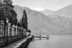 Lake Orta winter panorama. Black and white photo Stock Photos