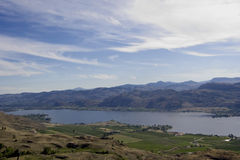 Lake Osoyoos, South of Britsh Columbia, Canada. View from the top - mountains, fields and rural scenery - adobe RGB Royalty Free Stock Images