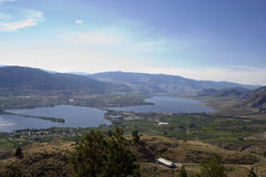 Lake Osoyoos, South of Britsh Columbia, Canada. View from the top - mountains, fields and rural scenery - adobe RGB Royalty Free Stock Photo